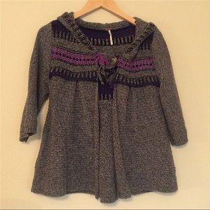 Free People Hooded Sweater Cardigan - M